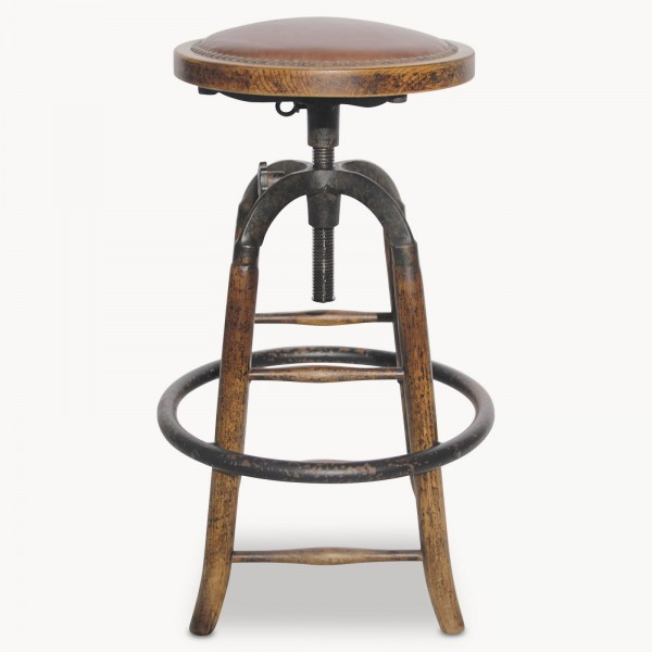 Windsor Leather And Metal Adjustable Bar Stool
