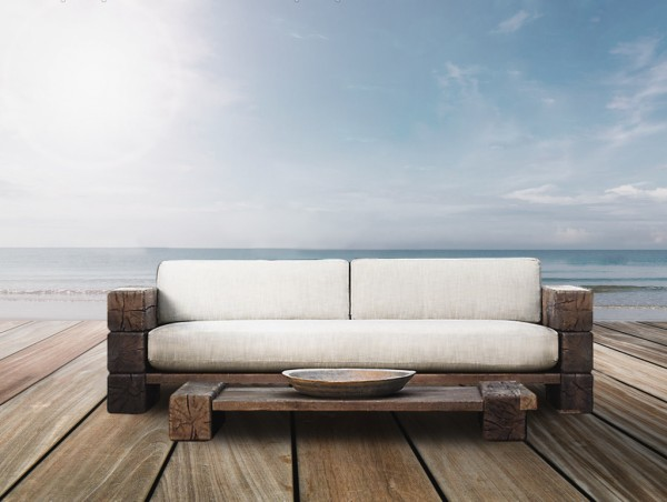 The Verbier Outdoor Love Seat - Natural English Oak