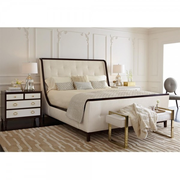Clarise Hollywood Ivory Tufted Polished Trim King Bed