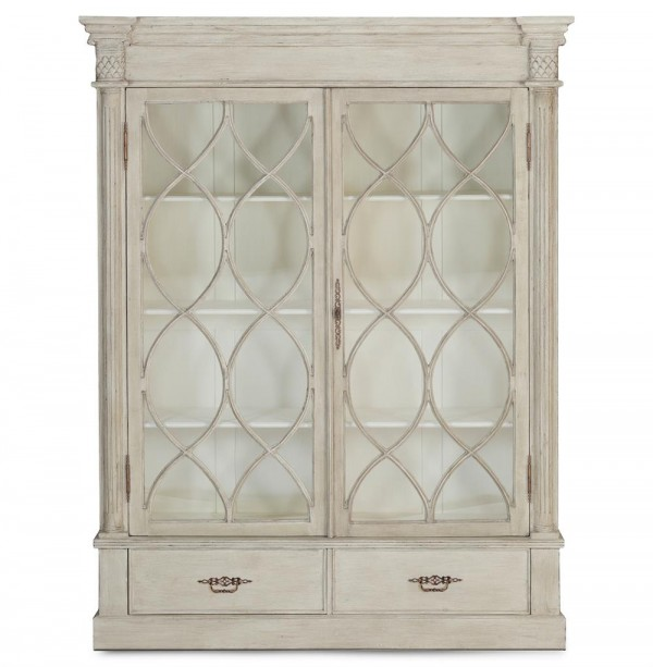 Caressa French Country Weathered Wood Display Cabinet
