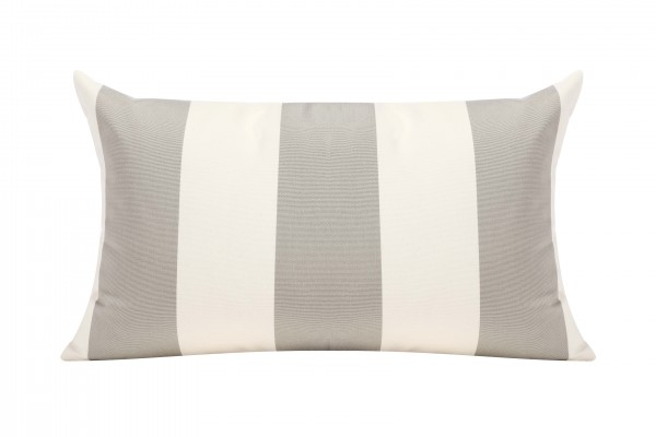 Silver Grey/White Cabana Outdoor Cushion - 50x30cm