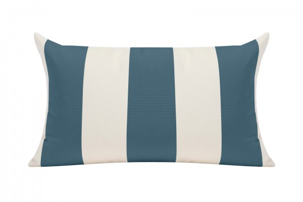 Slate Blue/White Cabana Outdoor Cushion - 50x30cm