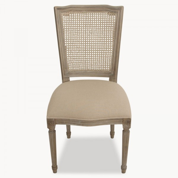 Stanley Burnt Wood French Dining Chair With Wicker Back