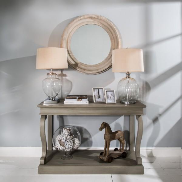 Wilton Grey Round Beaded Mirror
