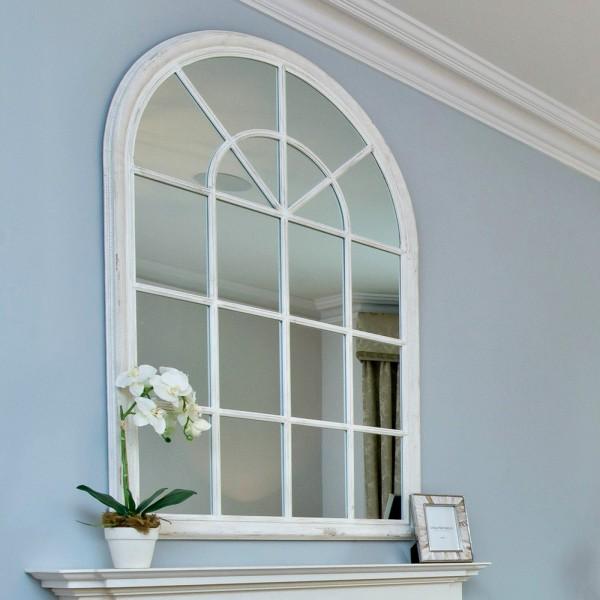 Wilton White Arched Window Mirror