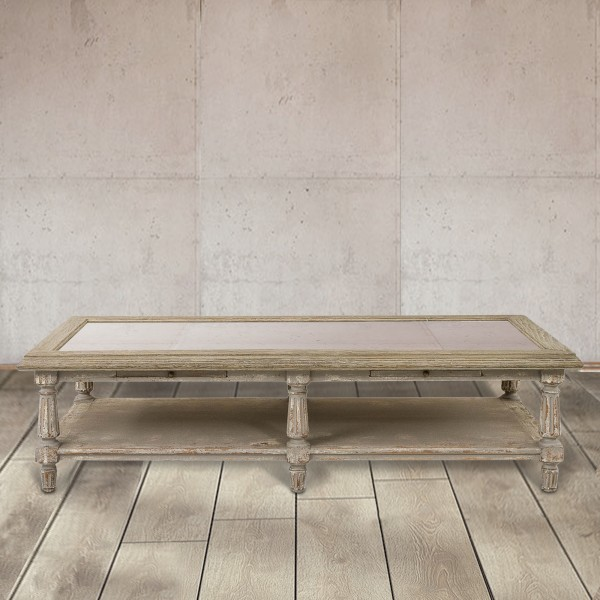 Windsor Colonial Grey Oak and Stone Top Coffee Table