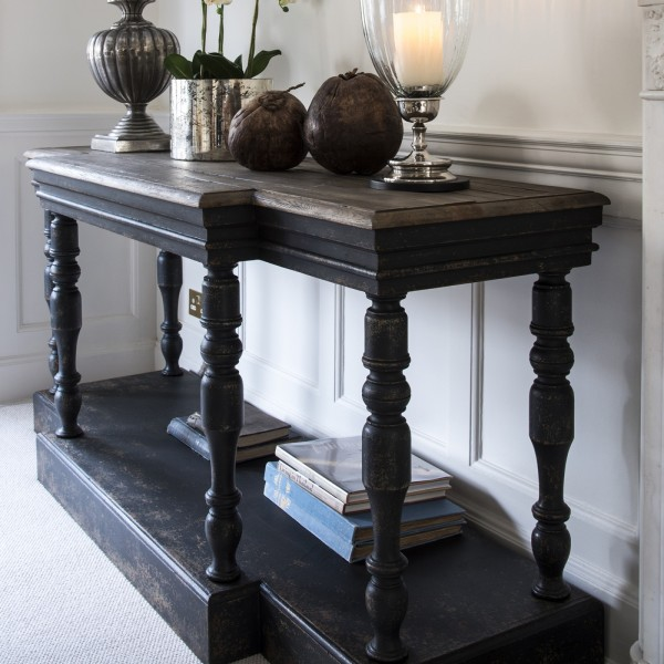 Woodcroft Console Table Bleached Oak Top and Black Base