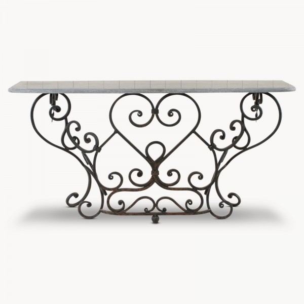 Woodcroft Stone Top Railing Console Table