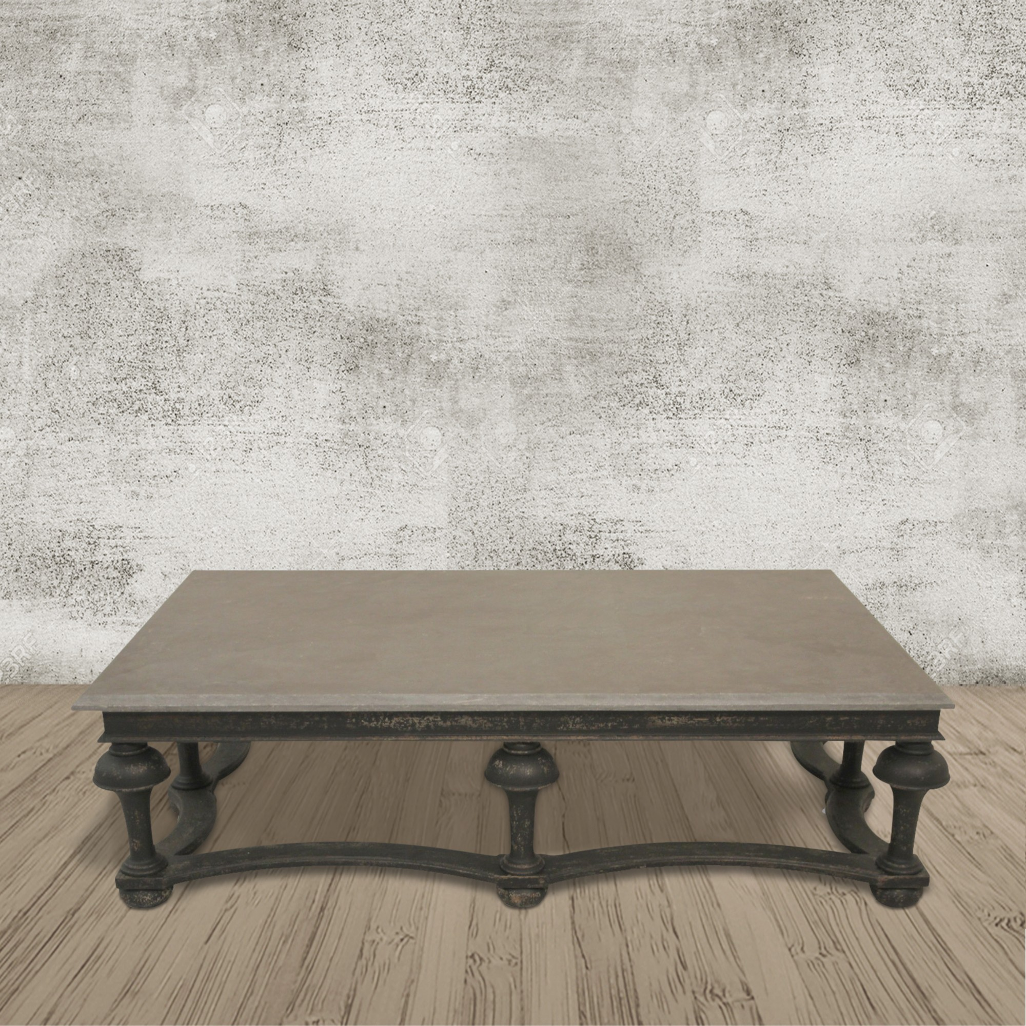 Windsor Black And Stone Top Balustrade Coffee Table