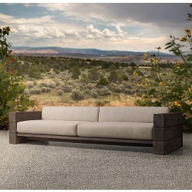 The Verbier Outdoor Bespoke Four Seated Sofa - Brown - English Oak