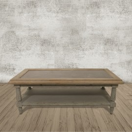 Colonial Grey Oak and Stone Coffee Table
