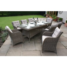 Winchester 8 Seat Rectangle Dining Set - Square Chairs