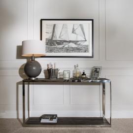 Kingswood Oak & Steel Console Table