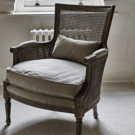 Lola Grey Wash Wood Bergere Chair