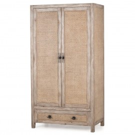 Sophia French Country Rattan Distressed Wood Cabinet