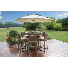 Winchester 6 Seat Round Outdoor Bar Set With Parasol