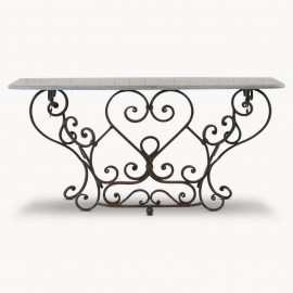 Windsor Stone Top Railing Console Table