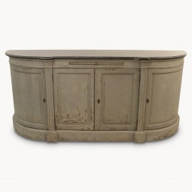 Woodcroft Rounded 4 Door Grey Sideboard With Stone Top