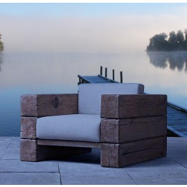 The Verbier Outdoor Club Sofa Chair - Natural English Oak