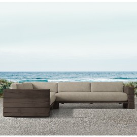 The Verbier Outdoor Corner Sofa - Brown - English Oak