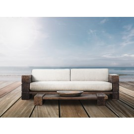 The Verbier Outdoor Love Seat - Brown - English Oak