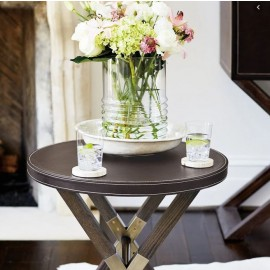 Claremont Leather Round End Table
