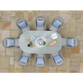 Grey Winchester 8 Seat Oval Ice Bucket Dining Set with Rounded Chairs