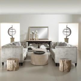 Hollywood Regency Mocha Wood Silver Velvet Tufted Sofa