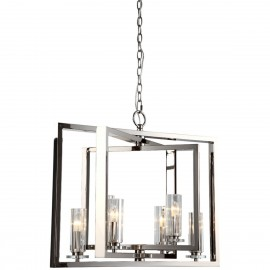 Saturn 6 Arm Nickel Angled Chandelier
