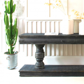 Rutland Large Distressed Black Console Table