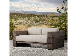 The Verbier Outdoor Bespoke Three Seated Sofa - Brown - English Oak
