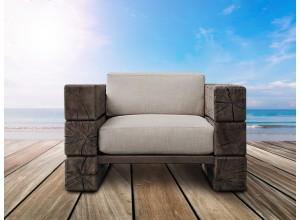 The Verbier Outdoor Bespoke Club Chair - Brown - English Oak