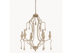 Brockton Antique White Iron and Wood Chandelier