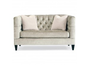 Hollywood Regency Mocha Wood Silver Velvet Tufted Loveseat