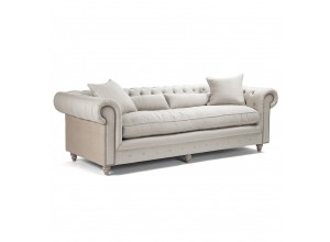 Chambery French Country Linen Chesterfield Sofa