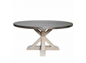 Newton Industrial Loft Zinc Top X Base Round Dining Table