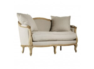 Pau French Country Natural Linen Feather Settee Loveseat