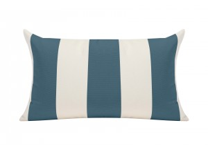 Slate Blue/White Cabana Outdoor Cushion - 50x30cm