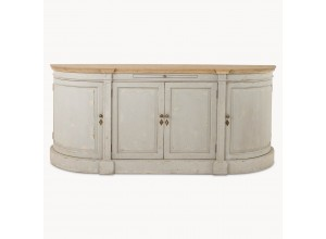 WOODCROFT ROUNDED 4 DOOR GREY SIDEBOARD