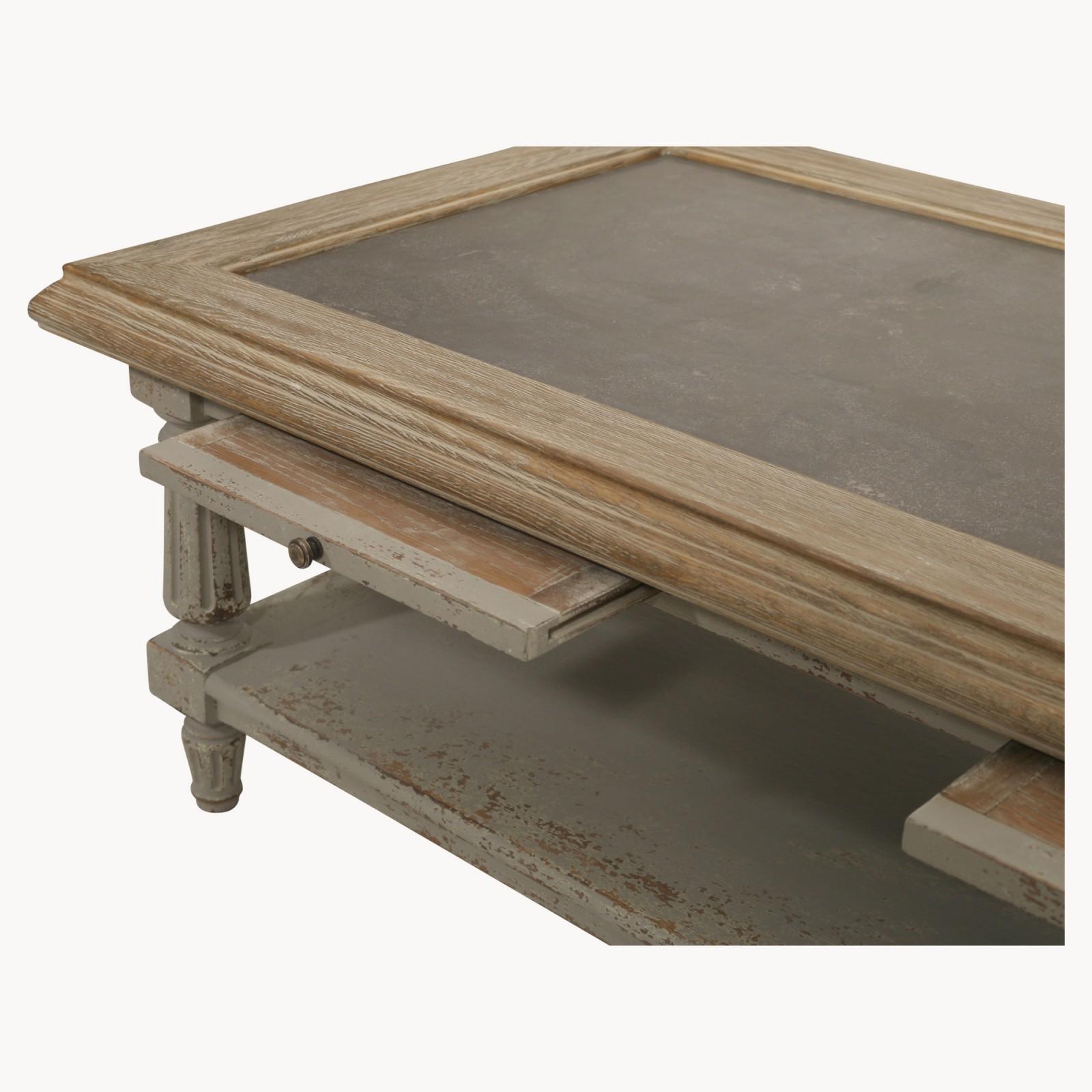 Oak And Stone Coffee Table: Colonial Grey Oak And Stone Coffee Table