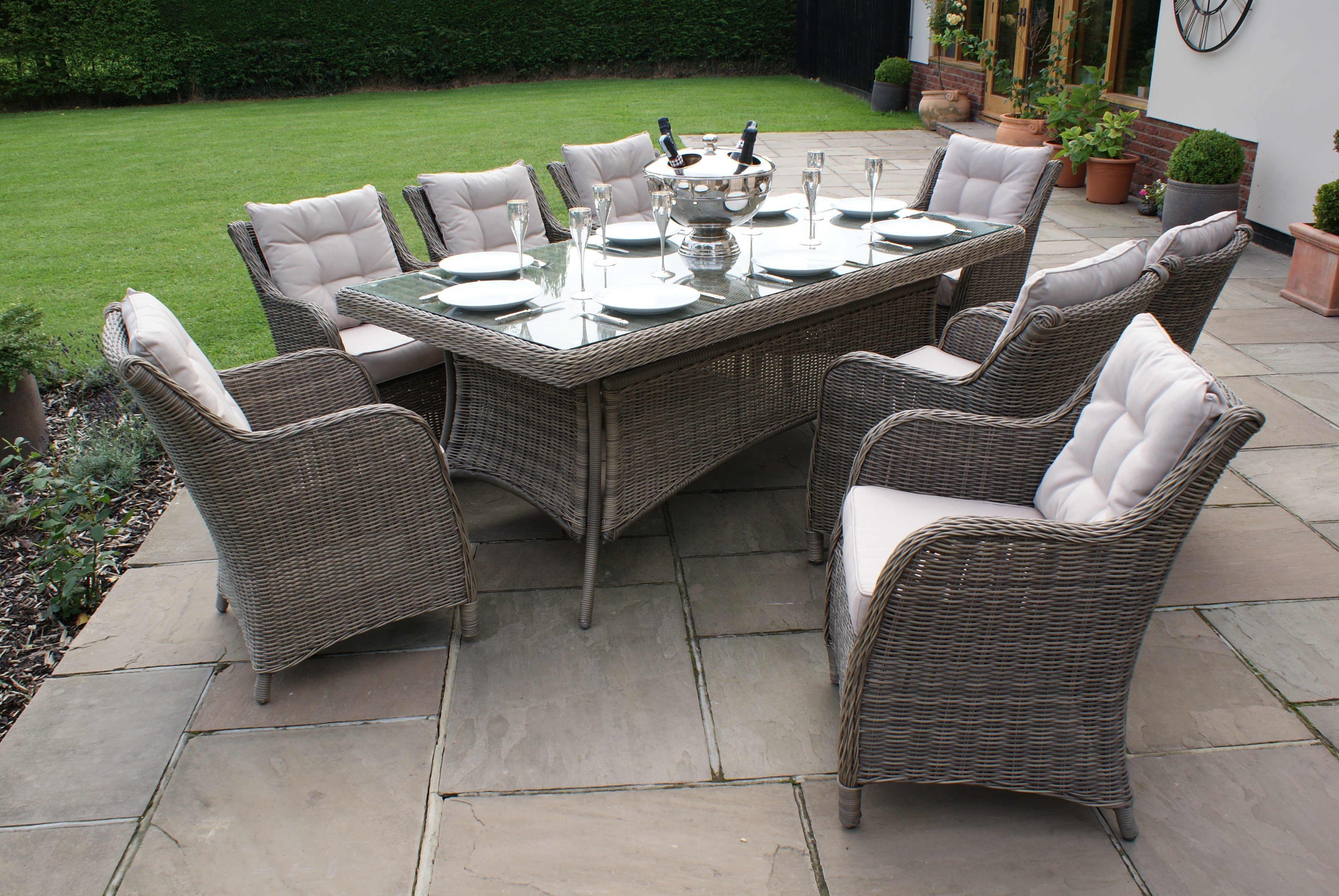 Winchester 8 Seat Rectangle Dining Set - Square Chairs ...