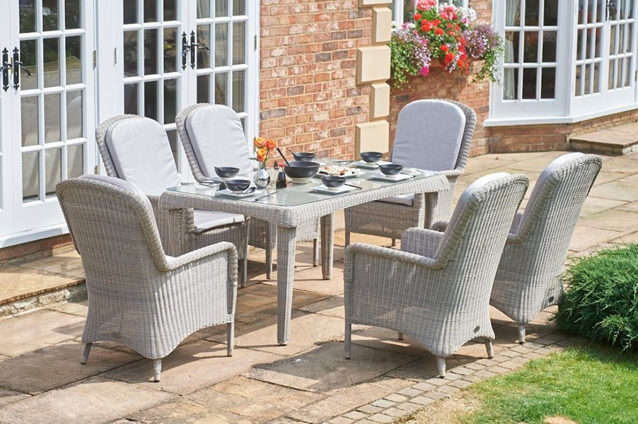 Estel Rectangular Outdoor Dining Set 6 Seater Hadley Rose